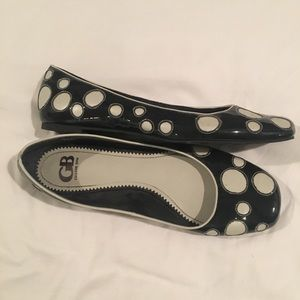 Gianni Bini Blue and White Polka Dot Flats
